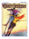 """Downhill Skiing "" Country Gentleman Cover  January 1  1927"