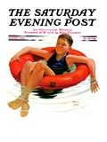 """Boy in Inner Tube "" Saturday Evening Post Cover  August 1  1936"