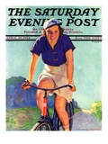 """Woman on a Bike "" Saturday Evening Post Cover  April 28  1934"