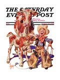 """Little Cowboy Takes a Licking "" Saturday Evening Post Cover  August 20  1938"