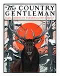"""Elk at Sunset "" Country Gentleman Cover  January 6  1923"
