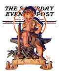"""Baby New Year at Forge "" Saturday Evening Post Cover  January 1  1938"