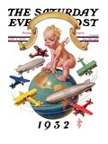 """Airships Circling Baby New Year "" Saturday Evening Post Cover  January 2  1932"