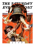"""Ringing Liberty Bell "" Saturday Evening Post Cover  July 6  1935"