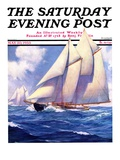 """Yachts at Sea "" Saturday Evening Post Cover  May 20  1933"