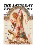 """Baby New Year Charting 1933 "" Saturday Evening Post Cover  December 31  1932"