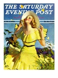 """Woman in Yellow "" Saturday Evening Post Cover  June 15  1935"