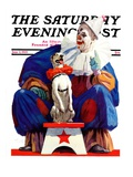 """Circus Clown and Pooch "" Saturday Evening Post Cover  June 3  1939"