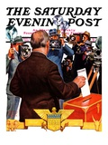 """Candidate Voting "" Saturday Evening Post Cover  November 7  1936"