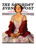 """Woman in Red Stole "" Saturday Evening Post Cover  July 22  1933"