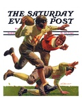 """Quarterback Pass "" Saturday Evening Post Cover  October 12  1935"