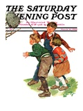 """Children and Hornets Nest "" Saturday Evening Post Cover  March 16  1935"