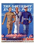 """Army  Navy and Marines "" Saturday Evening Post Cover  November 13  1937"