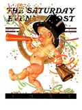 """Baby New Year Celebrates "" Saturday Evening Post Cover  January 2  1937"