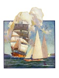 """Ship and Sailboats ""July 16  1932"