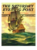 """Spanish Galleon "" Saturday Evening Post Cover  March 30  1935"