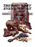 """Stoking the Furnace "" Saturday Evening Post Cover  October 15  1938"
