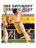 """Doubles Tennis Match "" Saturday Evening Post Cover  September 5  1936"