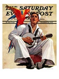 """Singing Sailor and Parrot "" Saturday Evening Post Cover  October 16  1937"