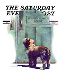 """Dog Waiting for Schoolboy "" Saturday Evening Post Cover  September 10  1938"