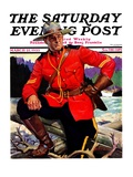 """""""Canadian Mountie """" Saturday Evening Post Cover  March 25  1933"""