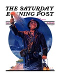 """Signaller "" Saturday Evening Post Cover  December 19  1931"