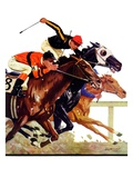 """Thoroughbred Race "" Saturday Evening Post Cover  August 4  1934"