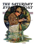 """Tying on a Fly "" Saturday Evening Post Cover  May 25  1929"