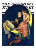 """Crescent Moon Couple "" Saturday Evening Post Cover  June 14  1930"
