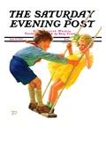 """Children on Swing "" Saturday Evening Post Cover  June 22  1935"
