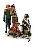 """Hockey Waits  Tying Skates ""December 17  1927"