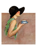 """Lady in Wide Brim Hat Holding Tea Cup ""March 24  1928"