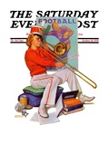 """Practicing the Trombone "" Saturday Evening Post Cover  October 10  1936"