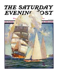 &quot;Ship and Sailboats &quot; Saturday Evening Post Cover  July 16  1932