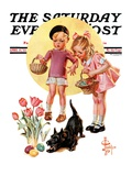 """Easter Egg Hunt "" Saturday Evening Post Cover  April 15  1933"