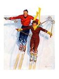 """Couple Downhill Skiing ""January 1  1937"