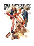 """Uncle Sam Sawing Wood "" Saturday Evening Post Cover  July 2  1932"