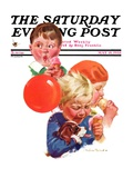 """Birthday Party "" Saturday Evening Post Cover  May 18  1935"