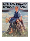 """Boy and Dog in Nature "" Saturday Evening Post Cover  June 11  1932"