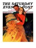 """Bonfire "" Saturday Evening Post Cover  December 12  1936"