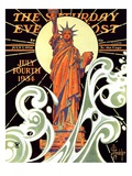 """Statue of Liberty "" Saturday Evening Post Cover  July 7  1934"