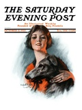 """Woman and Wolfhound "" Saturday Evening Post Cover  October 17  1925"
