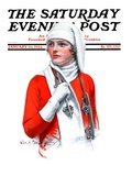 """Woman and Ice Scates "" Saturday Evening Post Cover  January 26  1924"