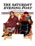 """""""Two Men in Deck Chairs """" Saturday Evening Post Cover  January 16  1937"""