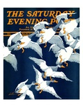 """Flying South "" Saturday Evening Post Cover  November 20  1937"
