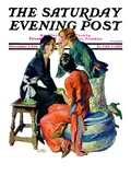 """Gossiping "" Saturday Evening Post Cover  December 5  1931"