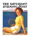 """Tennis Time-Out "" Saturday Evening Post Cover  July 20  1935"