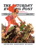 """Circus Bareback Riders "" Saturday Evening Post Cover  April 6  1935"