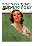 """Portrait of Lady Golfer "" Saturday Evening Post Cover  April 22  1933"