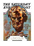 """Bronze Lincoln "" Saturday Evening Post Cover  February 12  1938"